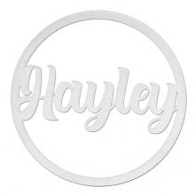 Personalised Name Hoop 3mm Silver MDF Wood Circle Home Nursery Wall Sign Plaque